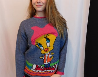 Vintage 90's Club Kid Tweety Bird Sweater, Looney Tunes Novelty Top
