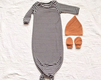 Boy coming home outfit Newborn boy outfit Newborn boy gown Hospital outfit boy Knotted gown Take home outfit monochrome baby clothes