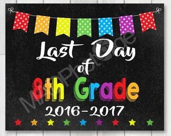 Last Day of 8th Grade Chalkboard sign, Instant Download, Last Day of School, preschool graduation invitation, Grad sign, class of 2017