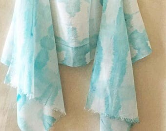 Turquoise Cotton Scarf, Woman's Cotton Scarf, Watercolor Scarf, Shibori Scarf, Hand Painted Scarf, Beach Scarf, All Cotton Scarf, Boho, USA