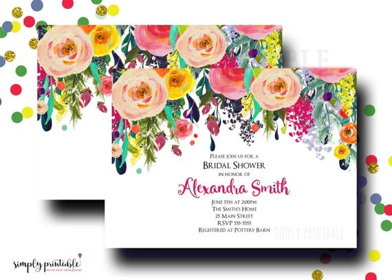 Bridal Shower Invitation, Wedding Shower Invite, Bright Watercolor Floral, Colorful Floral Bouquet