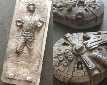 Star Wars soap set  - Millennium Falcon and Han Solo in Carbonite soap ,men soaps, May the Force be with you - geek nerd