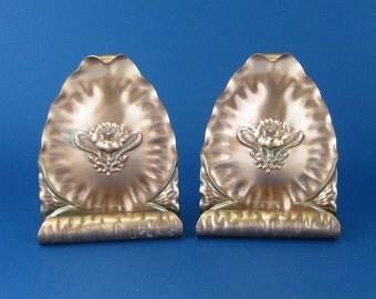 Gregorian Hammered Copper Bookends Art Nouveau Pattern # 201