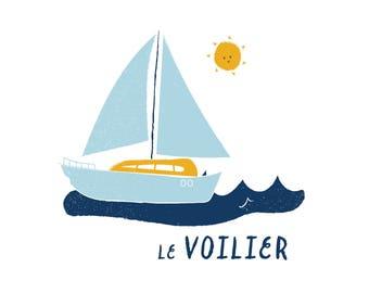 French Boat Print Illustration