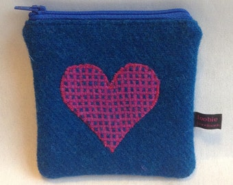 Blue Harris Tweed coin purse, heart purse, zipped coin pouch, change purse, scottish gift, Mother's Day, friend gift