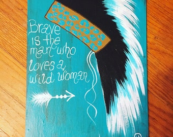 Hand Painted NATIVE HEADDRESS Canvas TRIBAL Boho Hippie Home Glamper Decor