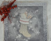 Quilted Trivet - Christmas Tree Gray and Red  Set #2