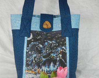 Quilted Large Tote Bag - Original Batik Horses by Carol Law Conklin