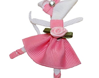 Angelina Ballerina Inspired Ribbon Sculpture Hair Clip