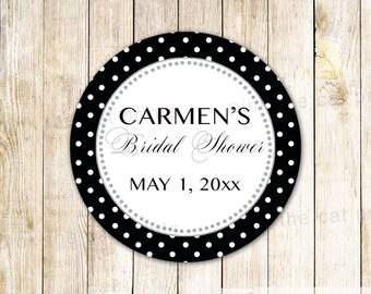 Black White Label or Wedding Gift Favor Tag White Black Bridal Shower Thank You Label Wedding Favor Sticker Wedding Shower Favor Label Polka