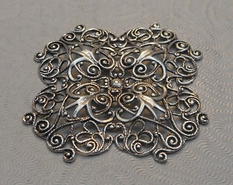 LuxeOrnaments Antiqued Sterling Silver Plated Brass Filigree Focal 41mm Dapped (1 pc) F-8305-S