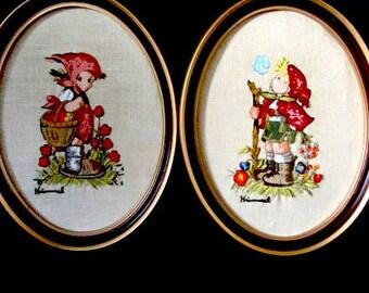 Framed Humel kids , framed Humel crewel, oval framed hummel, hummel  picture, nursery picture, hummel collector, hummel boy, hummel girl,
