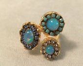 SPRING SALE Multi opal gold ring