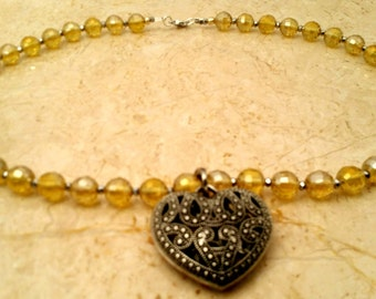 Yellow Crystal Collar Heart Necklaces
