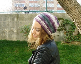 Hand Knitted Women Hat,beanie, fall, winter, adult, teen,ivory, colorful hat