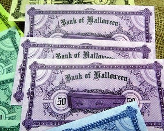 Bank of Halloween currency Play Money Bank Notes - 18 Notes