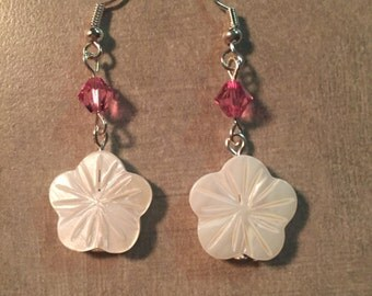 Pink crystal and Shell blossoms earrings