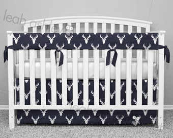 Crib Bedding Set - Crib Skirt and Teething Crib Rail Cover - Navy Woodland Deer Buck Heads - Choose Your Tie Color - CB0