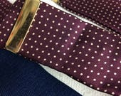 Vintage Men's Burgundy Silk ivory Dot Navy Elastic Suspenders Trafalger-  B5