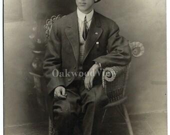 20% OFF Dapper Gentleman Real Photo Postcard c1910s, Hat Suit Vest Tie, Antique Studio RPPC Portrait, FREE Shipping