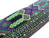 Boho bracelet, Boho Chic, Boho Chic Bracelet, Colorful Bracelet, Purple Green Cuff, Woven Bracelet, Cuff Bracelet, Wide Bracelet, Boho