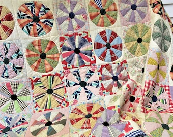 Antique Quilt, Patchwork Quilt, Dresden Plate Pattern, Hand Made Quilt – As Is