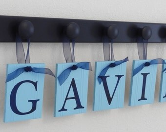 Aqua and Navy Nursery Wall Set includes Personalize Baby Boy Nameplate with Wooden Pegs Navy
