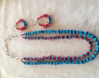 Turquoise and coral set
