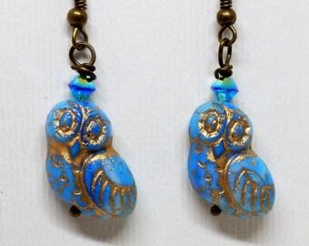 Owl Earrings, Blue Owl Earrings, Owl Jewelry, Bird Earrings, Bird Jewelry
