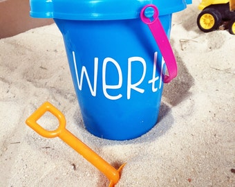 Personalized Sand Bucket - Beach Pail and Shovel with Name