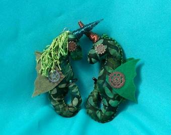 Flyte o'Fancy Steampunk Uniseacorn Ornament Seaweed w/ Pearl Chain
