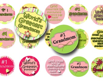 Grandmom 1 inch circles -  Grandmom bottle cap images - Mothers day circles - Digital collage sheet - Grandparents day - Key chains
