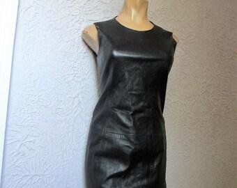 90's Vintage Designer Kors Mod Black Leather Dress Sheath XS