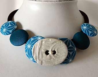 Turquoise and Ceramic Japanese Cloth Necklace