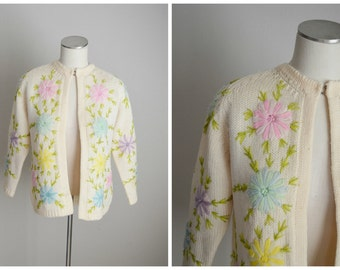 vintage  50s floral ivory pastels embroidered cardigan sweater -- womens small