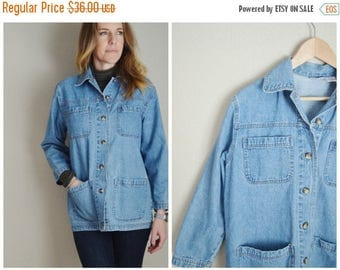 Vacation SALE - 10% off - vintage denim jean chore coat style jacket-- womens oversize small