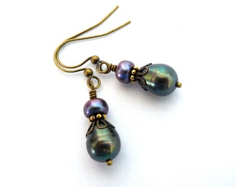 Iridescent gray pearl earrings, freshwater pearls, antiqued brass, peacock colors purple green, layered metal detail, earthy pearl jewelry