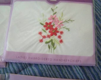 Vintage style embroidered floral handkerchiefs; 2 per pack! Different designs & colors