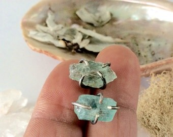 Raw Aquamarine Stud Earrings - March Birthstone - Birthstone Jewelry