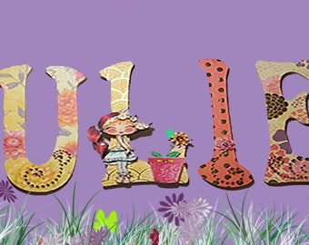 Personalized wood name/kids room/decorations/dinosaurs/babys room/wood letters/