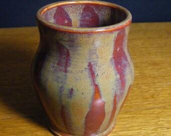 Handmade Pottery Vase,  Ceramic Vase, Ceramic Bud Vase, Red Vase, Decorative Vase, Varied Red Vase, 0786