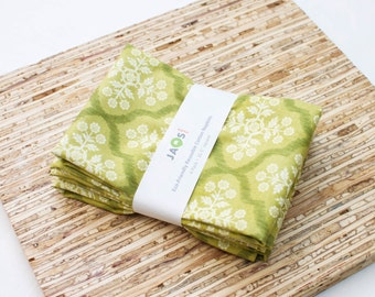 Large Cloth Napkins - Set of 4 - (N1453) - Green Luscious Floral Medallion Modern Reusable Fabric Napkins