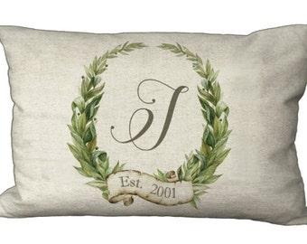 Oblong Monogram Custom Laurel Wreath in Choice of 18x12 20x13 22x12 24x16 Inch Pillow Cover