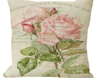 Romantic Pink Roses in Choice of 14x14 16x16 18x18 20x20 22x22 24x24 26x26 inch Pillow Cover