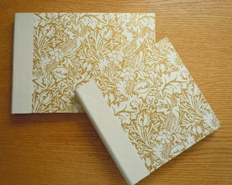 White and Gold Ribbons and Leaves in a Square Blank Guest Book or Album