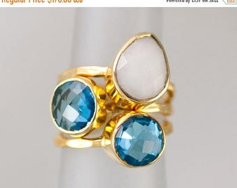 40 OFF - Size 5 Ring - Gemstone Statement Ring - Stacking Ring - Stackable Rings - Birthstone Ring-  Bezel Rings - Gold Ring -