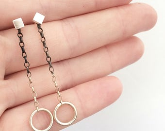 square studs, circle earrings, black and silver earrings