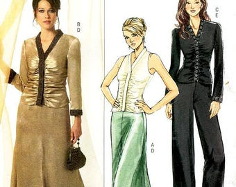 Sz 8/10/12/14 - Butterick Pattern B4916 - Misses' Ruched Front Top, Long Skirt, and Straight Leg Pants - Butterick Patterns