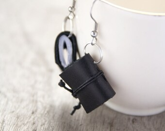 Leather earrings, miniature book earrings, mini book jewelry, book lover reader gift, literature jewelry, journal earrings