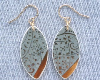 Gold and Grey Wallpaper Earrings Broken Recycled China Jewelry Material and Movement